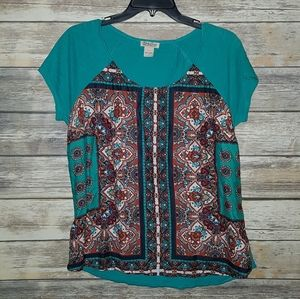 Lucky Brand Graphic Tee Floral Paisley Blue Red L